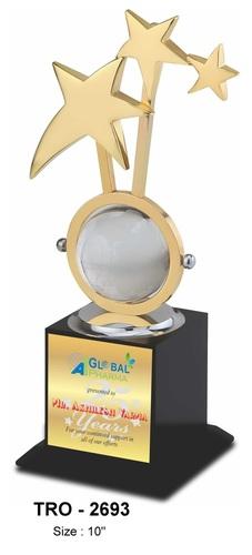 3 Star Glass Globe Metal Trophy