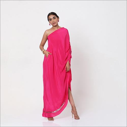 Pink Embroidered One Shoulder Dress