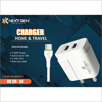 3 AMP Dual USB With Cable Charger