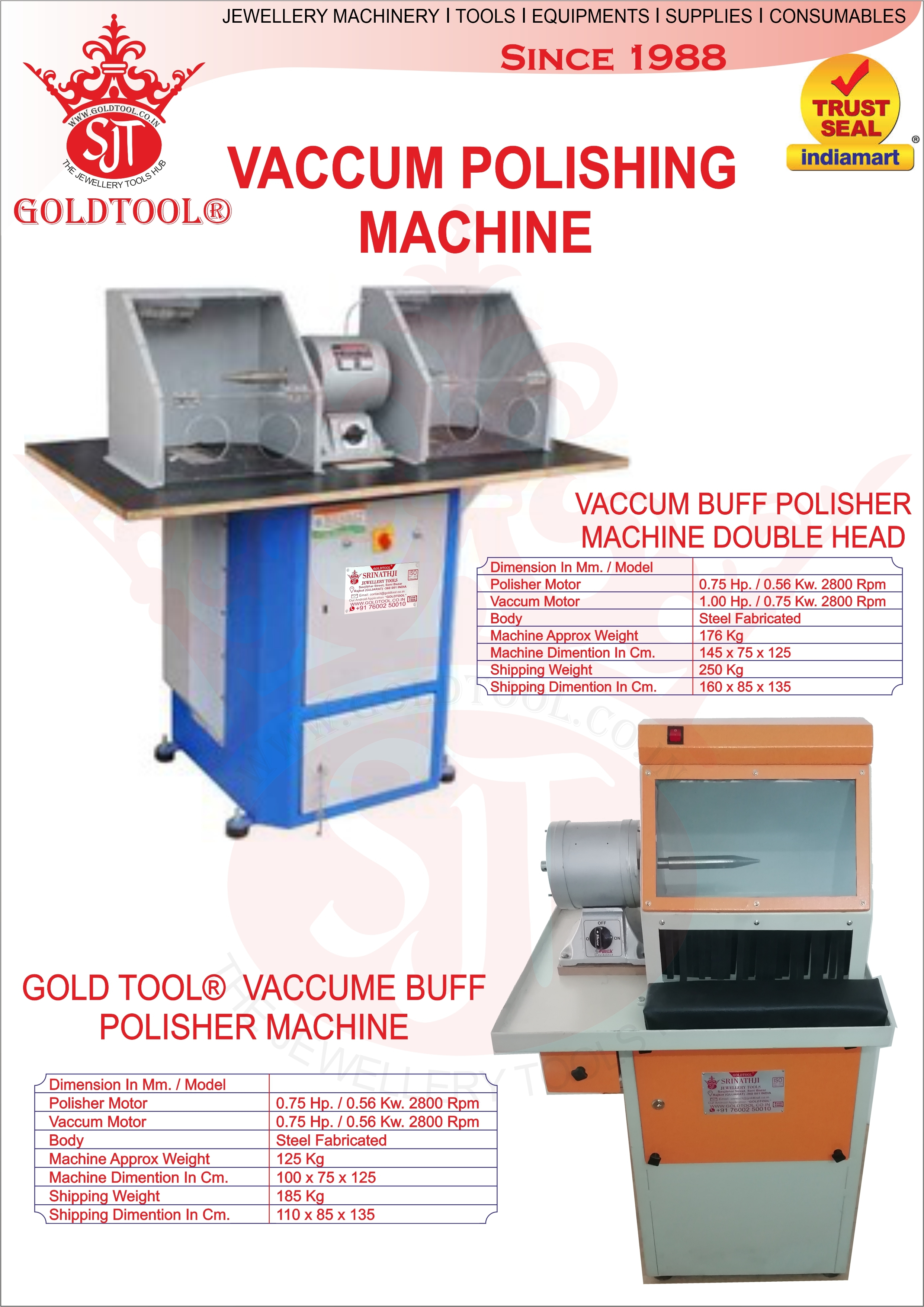 Gold Tool Vacuum Buff Polishing Machine