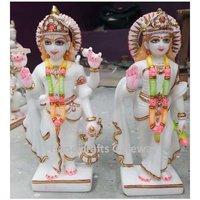 Beautiful Pure Marble Laxmi Narayan Sculpture