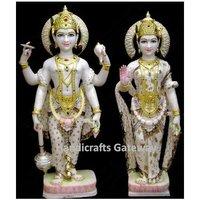 Antique Solid Marble God And Goddess Laxmi Vishnu Statue