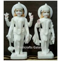 Pure White Vietnam Marble Laxmi Vishnu Moorti