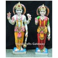 Handmade Multicolor Marble Laxmi Vishnu Idol