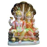 Beautiful Marble Sitting Laxmi Vishnu Statue With Sheshnag