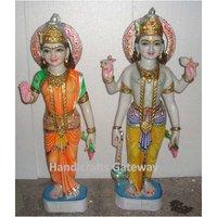 Standing Marble Laxmi Vishnu Statue For Home