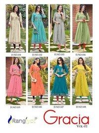 Rangjyot Gracia 1 Fancy Rayon Embroidery Kurtis Catalogue