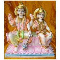 Pure Marble Sitting Maa Lakshmi Vishnu Statue