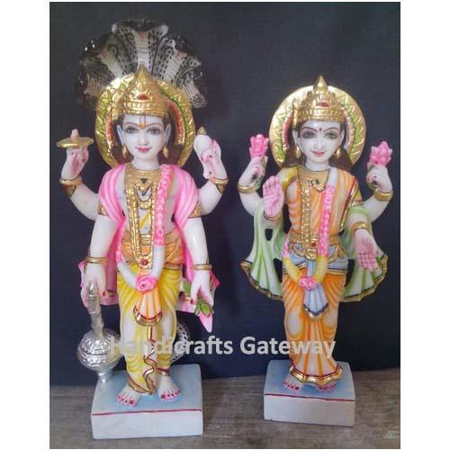 Multi Color Makrana Marble Lakshmi Narayan Sculpture
