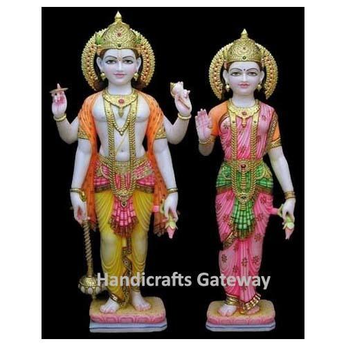 Beautiful Marble Standing Vishnu Laxmi Statue For Home Temple