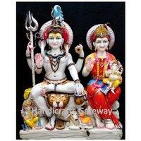 Beautiful Handmade Marble Shiv Family Sculpture