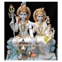 Pure White Marble God Shiva Parvati Maa Statue For Temple