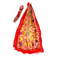 Orange Color Cotton Printed Lace Dupatta