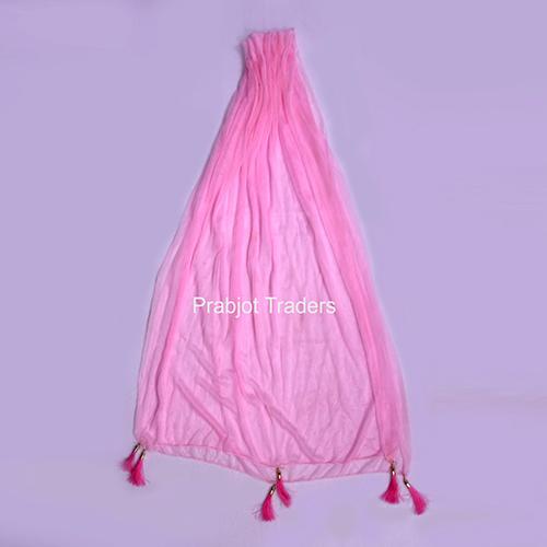 Interlocked And Latkan Pink Chiffon Dupatta