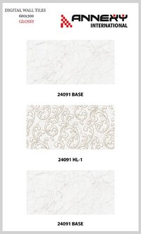 White Glossy Ceramic Tiles 300x600 mm