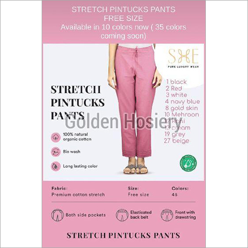 Stretch Pintucks Pants
