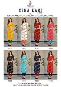 Minakari Pure Rayon Foil Print Designer Kurtis Catalogue