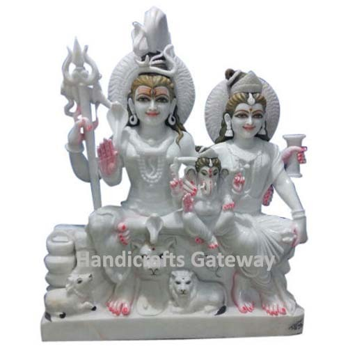Pure White Vietnam Marble Shiv Parivar Statue