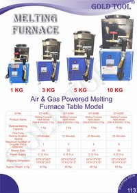 Gold Tool Air And Gas Powered Melting Furnace