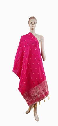 Embroidered Fringes Printed Pink Long Dupatta