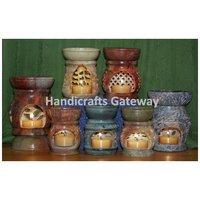 Handmade Soapstone Aroma Oil Burner, Natural Stone Oil Lamp