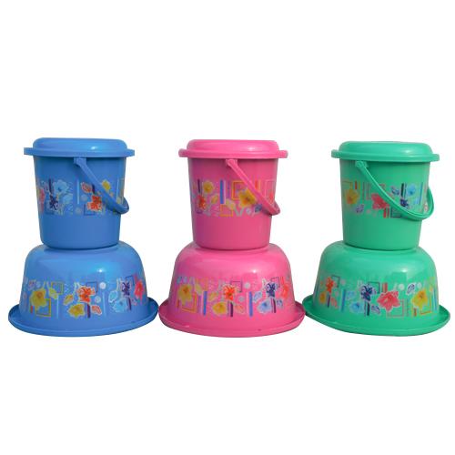 Printed Plastic Bathroom Bucket And Tub Set