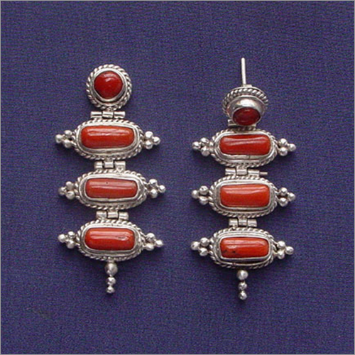 Sterling Silver With Coral Earring