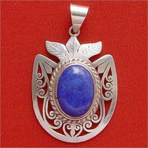 Silver With Lapis Pendant