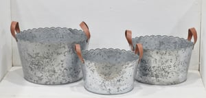 Set of 3 Round Planter With Leather Handle