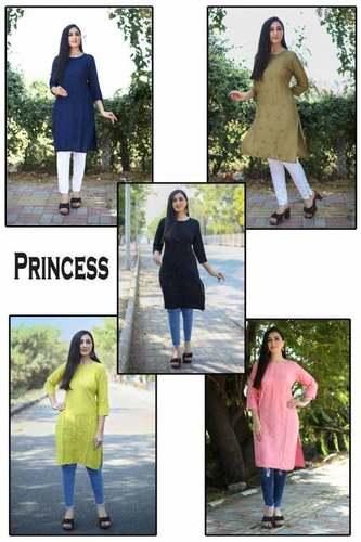 Princess-Ladies Flavour Rayon Embroidery Kurtis Catalogue