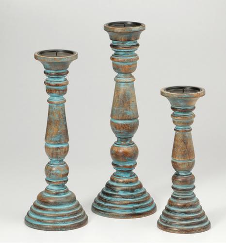 Antique Finish Set of 3 Candle Holder