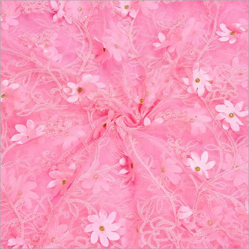 Pink Color Designer Net Fabrics