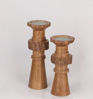 Wooden Candle Holder With Bark