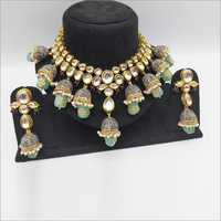 Kundan Neckalce set with Mint Drops