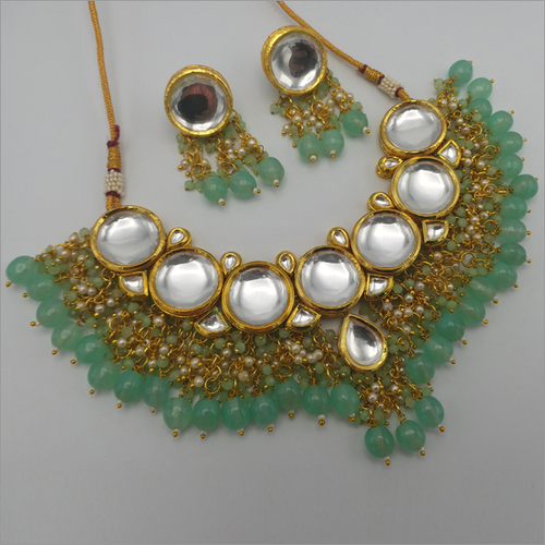 Kundan Necklace Set with Mint Drop