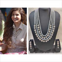 Anushka Style Pearl and Kundan Necklace with Earring
