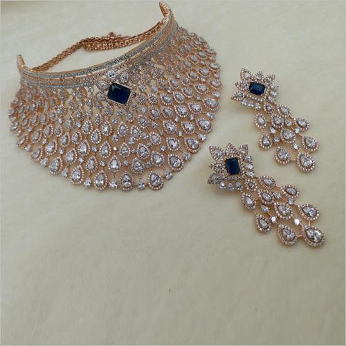 Blue Diamond Choker Necklace with Earrings