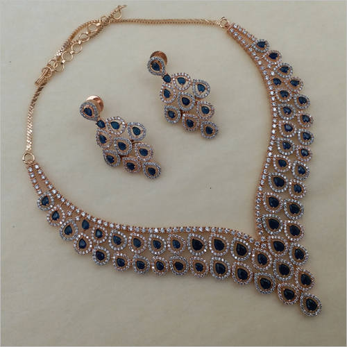 Blue Diamond Necklace with Earring