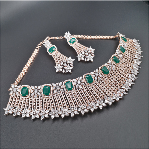 Emerald Stone Diamond Necklace with Earrings
