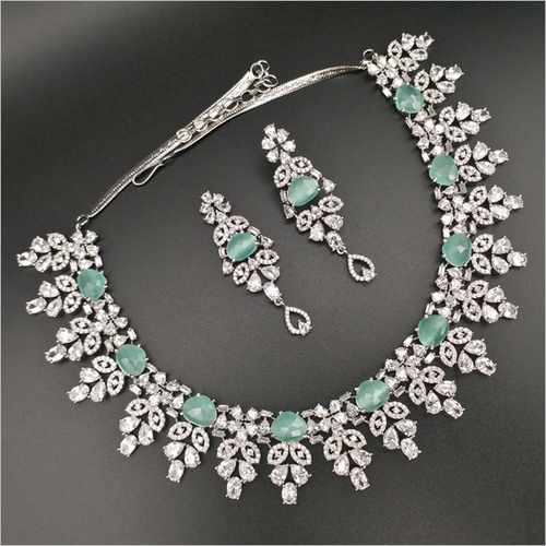 Mint Diamond Necklace with Earrings