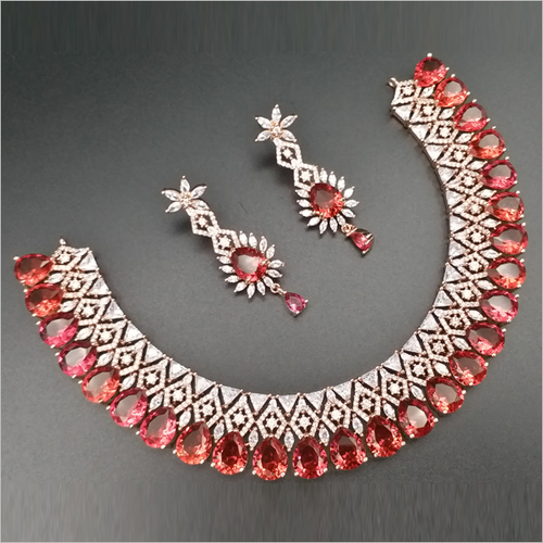Ruby Diamond Necklace with Earrings