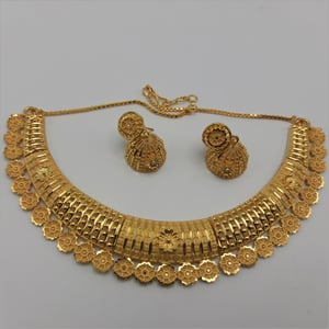 Gold Forming Necklace with earrings