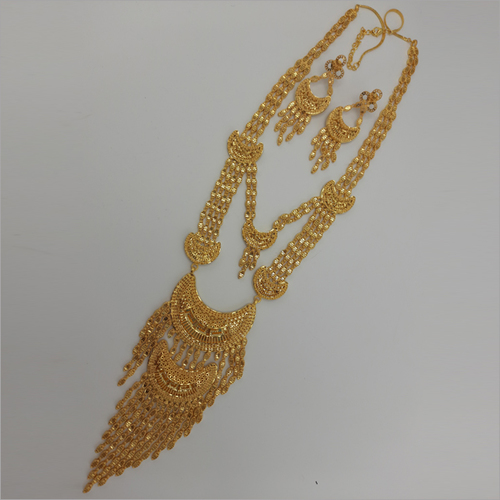 Raani Haar Gold Forming Necklace with earring