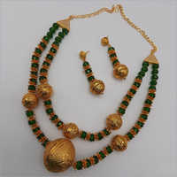2 Layer Grrn Stone Galam Necklace