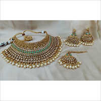 Mint Bridal Choker Necklace with Earrings and Maangtikka