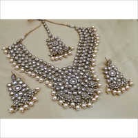 Reverse AD Mehendi Polish Necklace with Earring and Maangtikka and Pearl drop