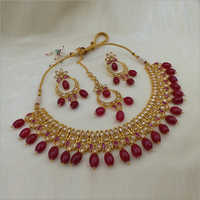 Reverse AD Necklace with Earring and Maangtikka with Ruby drop