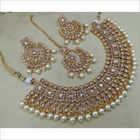 Reverse AD Necklace with Earring and Maangtikka