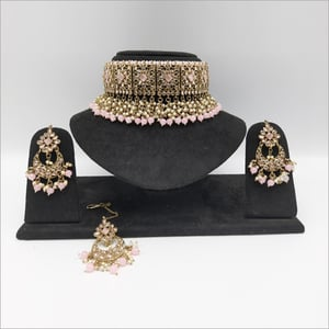 Reversed AD Choker Necklace with earring and maangtikka with Pink Drop