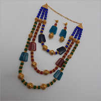 Blue and Red Stone Layered African Beads Necklace with Earring